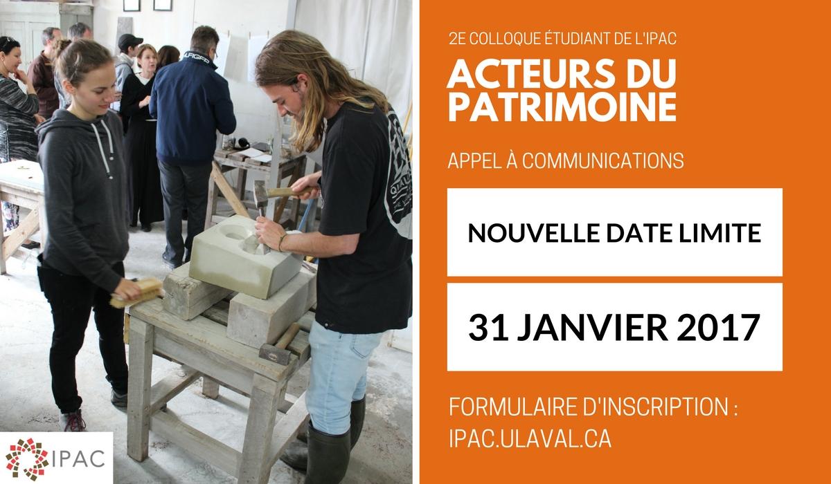 2e colloque tudiant de l ipac nouvelle date pour soumettre vos propositions ipac - Date des soldes de janvier 2017 ...