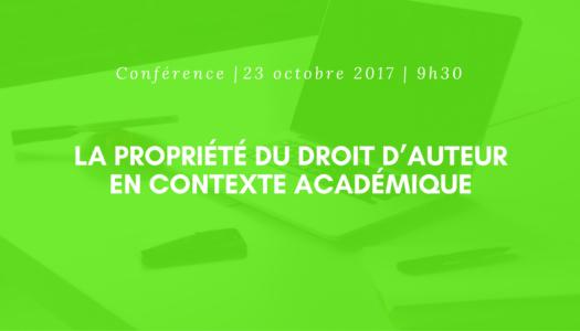 Conférence | La propriété d'auteur en contexte académique
