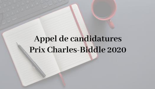 Appel de candidatures Prix Charles-Biddle 2020